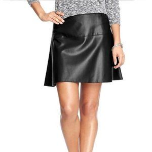Old Navy Black Faux Leather A-Line Skirt